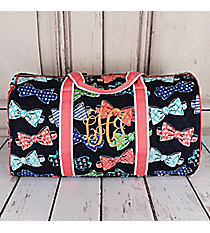"Fanciful Bow Ties Quilted Duffle Bag with Coral Trim 21"" #RIB2626-CORAL"