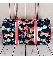 """Fanciful Bow Ties Quilted Duffle Bag with Coral Trim 21"""" #RIB2626-CORAL"""