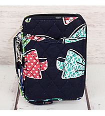 Fanciful Bow Ties with Navy Trim Quilted Wristlet #RIB495-NAVY