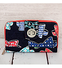 Fanciful Bow Ties with Coral Trim Quilted Organizer Clutch Wallet #RIB517-CORAL