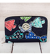 Fanciful Bow Ties with Navy Trim Quilted Organizer Clutch Wallet #RIB517-NAVY