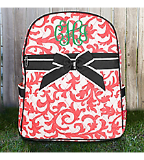 Coral Ivy Damask Quilted Backpack with Gray Trim #RMC2828-CORAL
