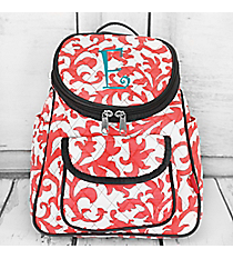 Coral Ivy Damask Quilted Petite Backpack with Gray Trim #RMC286-CORAL