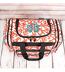 "Coral Ivy Damask Duffle Bag with Gray Trim 17"" #RMC417-GRAY"