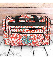 "Coral Ivy Damask Duffle Bag with Gray Trim 20"" #RMC420-GRAY"