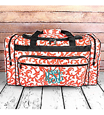 "Coral Ivy Damask Duffle Bag with Gray Trim 23"" #RMC423-GRAY"
