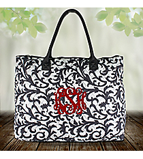 Gray Ivy Damask Quilted Large Shoulder Tote #RMK3907-GRAY