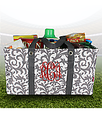 Gray Ivy Damask Collapsible Haul-It-All Utility Basket #RMK401-GRAY