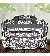 "17"" Gray Ivy Damask Print Duffle Bag #RMK417-GRAY"