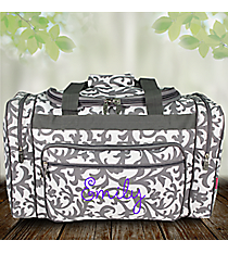 "20"" Gray Ivy Damask Print Duffle Bag #RMK420-GRAY"