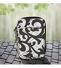 Gray Ivy Damask Quilted Wristlet #RMK495-GRAY