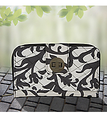 Gray Ivy Damask Quilted Organizer Clutch Wallet #RMK517-GRAY