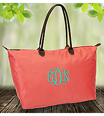 Solid Coral Large Tote Bag #ROL553-CORAL