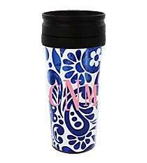 Royal Blue Floral Paisley 14 oz. Travel Tumbler with Black Lid #WLCM338PP-CL-U