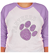 Purple Paw and Team Name 3/4 Sleeve Raglan Tee 14900 *Choose Your Team Name!
