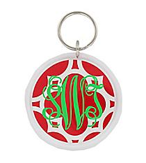 Red Quatrefoil Round Acrylic Key Tag #991