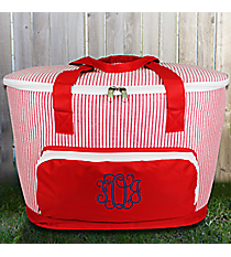 Red Striped Seersucker Cooler Tote with Lid #SR89-RED