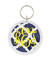 Navy Moroccan Round Acrylic Key Tag #991