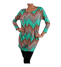 Mint and Multi-Color Chevron Print Tunic Top #S2-T3334S-MINT *Choose Your Size