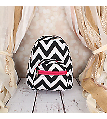 Black Chevron with Pink Trim Small Backpack #SBP-1324-P