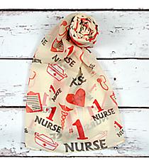 "Ivory ""#1 Nurse"" Scarf #SC0014-IV"