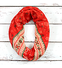 Red Christmas Snowflake Infinity Scarf #SC0056-RD