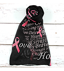 Pink Ribbon Phrases Black Scarf #SC0059-BK