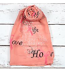 Pink Ribbon Phrases Pink Scarf #SC0059-PK