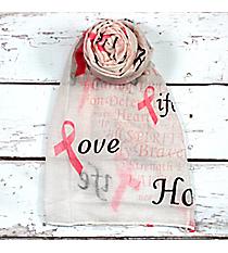 Pink Ribbon Phrases White Scarf #SC0059-WT