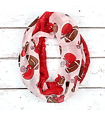 Red and White Football Theme Infinity Scarf #SC0061-RDWT