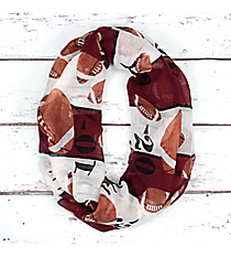 Maroon and White Football Field Infinity Scarf #SC0062-MRWT
