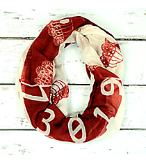 Crimson and White Oklahoma Infinity Scarf #SC0091-WIWT