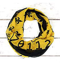 Black and Gold Fleur de Lis Louisiana Infinity Scarf #SC0099-GDBK