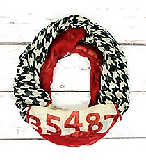 Crimson, Ivory, and Houndstooth Alabama Infinity Scarf #SC0100-IVWI