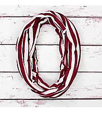 Maroon and White Stripe Infinity Scarf #SC0101-WTMR