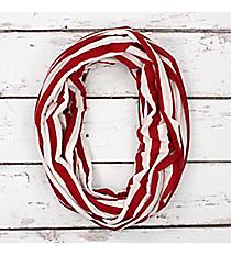 Crimson and White Stripe Infinity Scarf #SC0101-WTWI