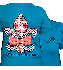 Bow Fleur de Lis Tropical Blue T-Shirt *Choose Your Size