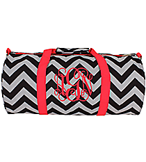 Black Chevron with Pink Trim Roll Duffle Bag #SD-1324-P