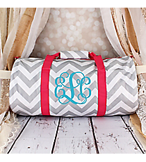 Gray and White Chevron with Pink Trim Roll Duffle Bag #SD-1325-P