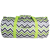 Green and Gray Chevron Roll Duffle Bag #SD-1326
