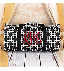 Black and White Overlapping Squares Roll Duffle Bag #SD-1333