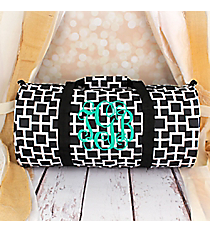Black and White Connecting Squares Roll Duffle Bag #SD-1334-1