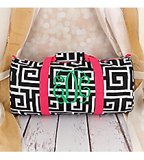 Black and White Greek Key with Pink Trim Roll Duffle Bag #SD-704-BK-PK