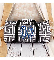 Gray and White Greek Key with Black Trim Roll Duffle Bag #SD-704-GRAY