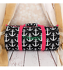 Black and White Anchor with Pink Trim Roll Duffle Bag #SD-706-BK-PK