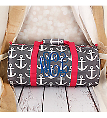 Gray and White Anchor with Pink Trim Roll Duffle Bag #SD-706-GR-PK