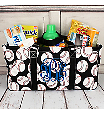 Baseball with Black Trim Collapsible Haul-It-All Basket with Mesh Pockets #SKQ603-BLACK