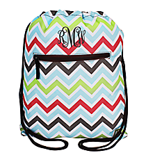 Multi-Color Chevron Drawstring Backpack #SL-1323