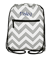 Gray and White Chevron Drawstring Backpack #SL-1325