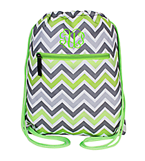 Green and Gray Chevron Drawstring Backpack #SL-1326